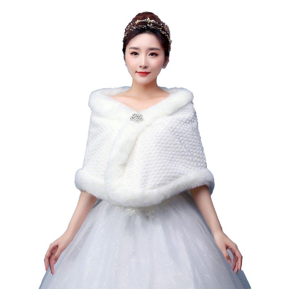 BOWITH Women Winter Warm Wedding/party/show Wrap Shawl Faux Fur Jacket Coat Ivory
