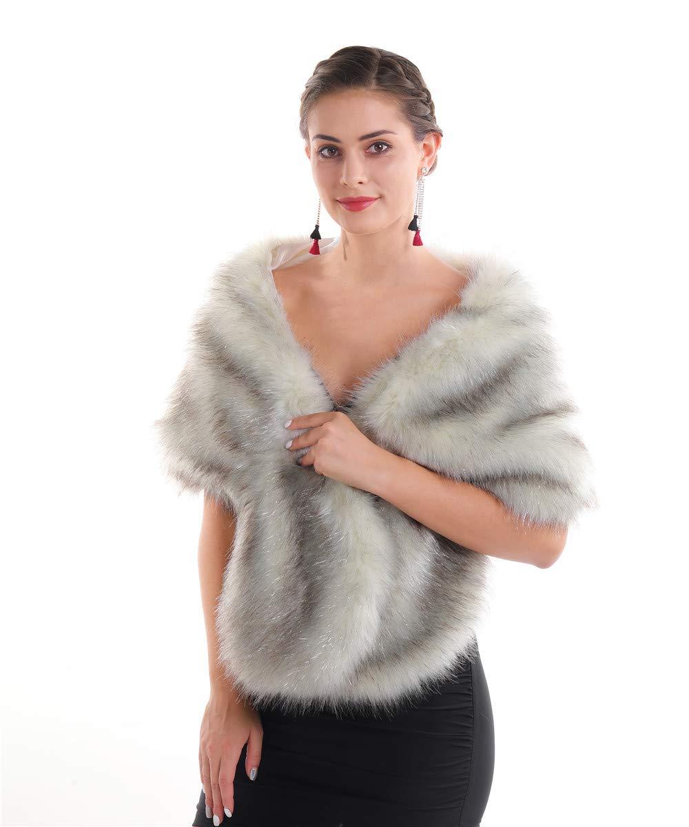 Lucky Leaf Women Winter Faux Fur Scarf Wrap Collar Shrug for Wedding Evening Party (Shawl Silver), Medium by Lucky Leaf