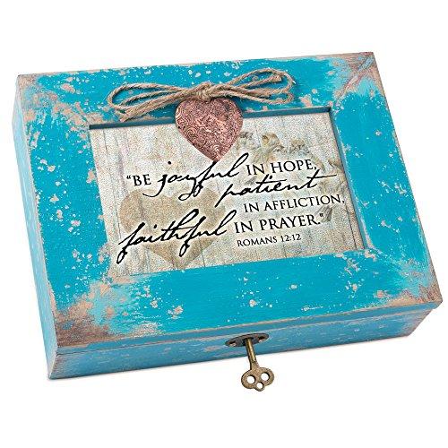 Cottage Garden Joyful Patient Faithful Prayer Teal Distressed Locket Music Box Plays How Great Thou Art
