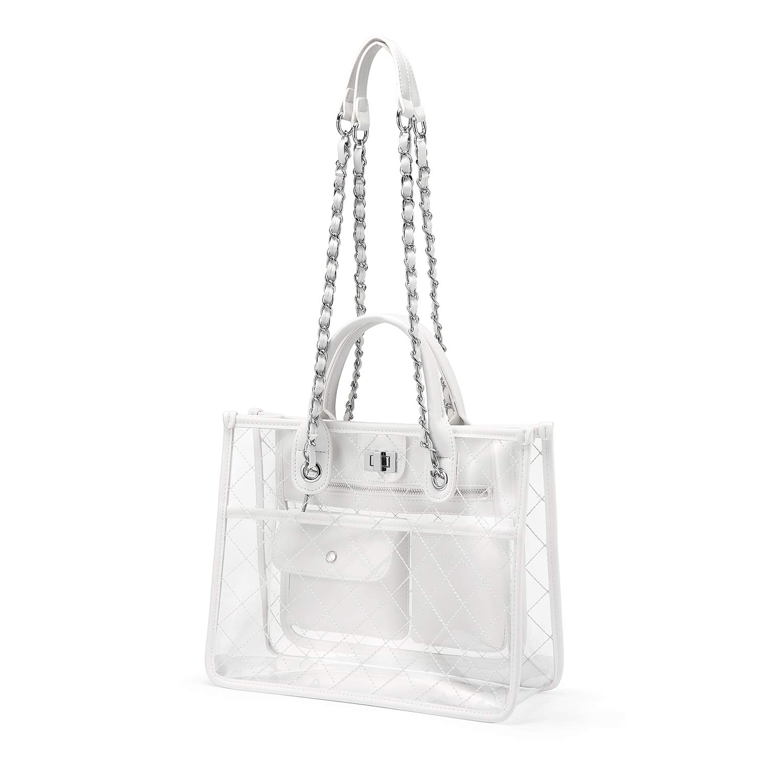 Amazon.com  Clear Handbag Purses and Handbags Women s Designer Quilted Tote  Shoulder Bag Medium Waterproof Twist Lock w Chain Strap Stylish White  Shoes 473bfed189e4a