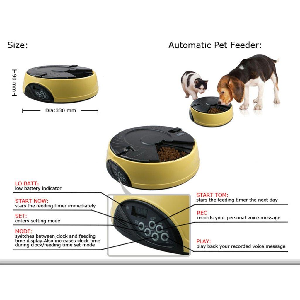 Baoblaze Animali Domestici 6 Pasti Timer Automatico Automatico Automatico Dispenser di Cibo Programmabile con Registratore Vocale - Giallo 1cd050
