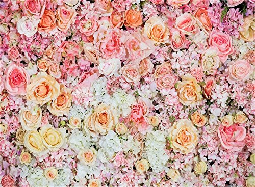 Leowefowa 7X5FT Happy Father's Day Backdrop Blooming Fresh Rose Flowers Backdrops for Photography Romantic Bridal Shower Vinyl Photo Background Girls Lover Party Decoration Portraits Studio Props