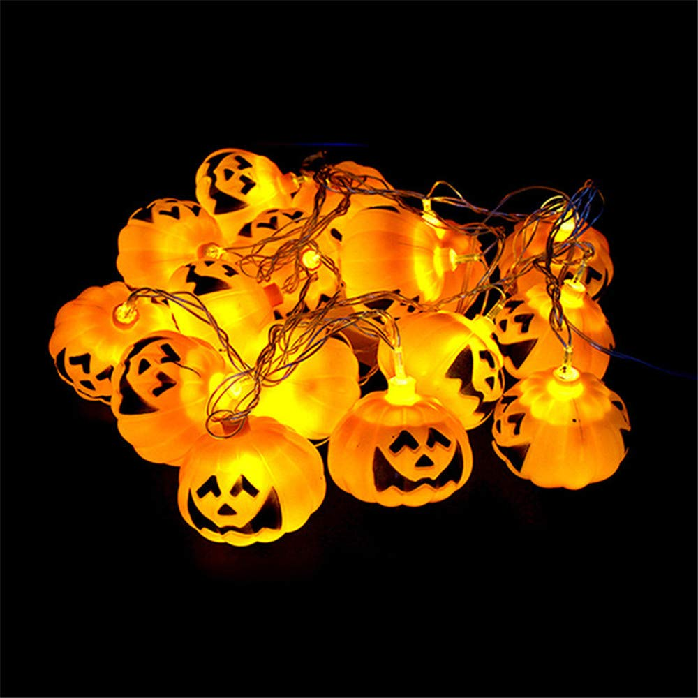 Pumpkin Halloween String Lights,Miya 16LEDs 3D Pumpkin Lights Battery Operated Decoration for Indoor Festival, Party, Holiday, Halloween Decorations Home Patio Garden - Warm White Pumpkin