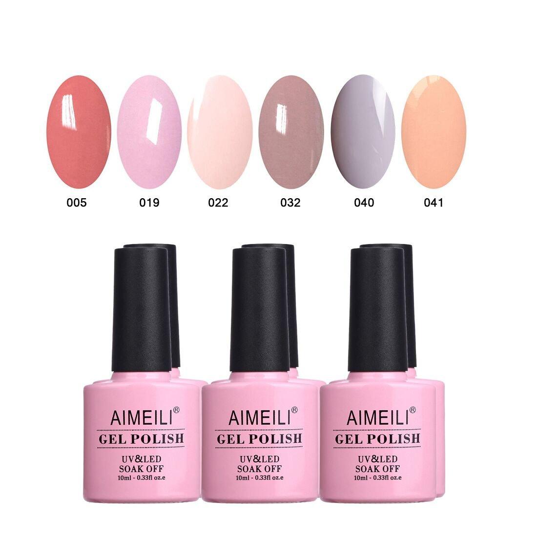 AIMEILI Pastel Nude Gel Nail Polish Set Soak Off UV LED Gel Polish Multicolour/Mix Colour/Combo Colour Of 6pcs X 10ml - Gift Kit 22