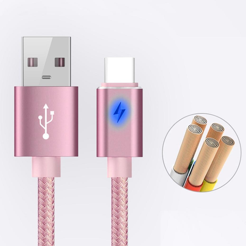 1 Mètre Type C ligne de données USB 3.1 câble de chargement 2.1A Data & Sync Câble de chargeur plus rapide pour Samsung Galaxy S8 (Doré rose) Jintime