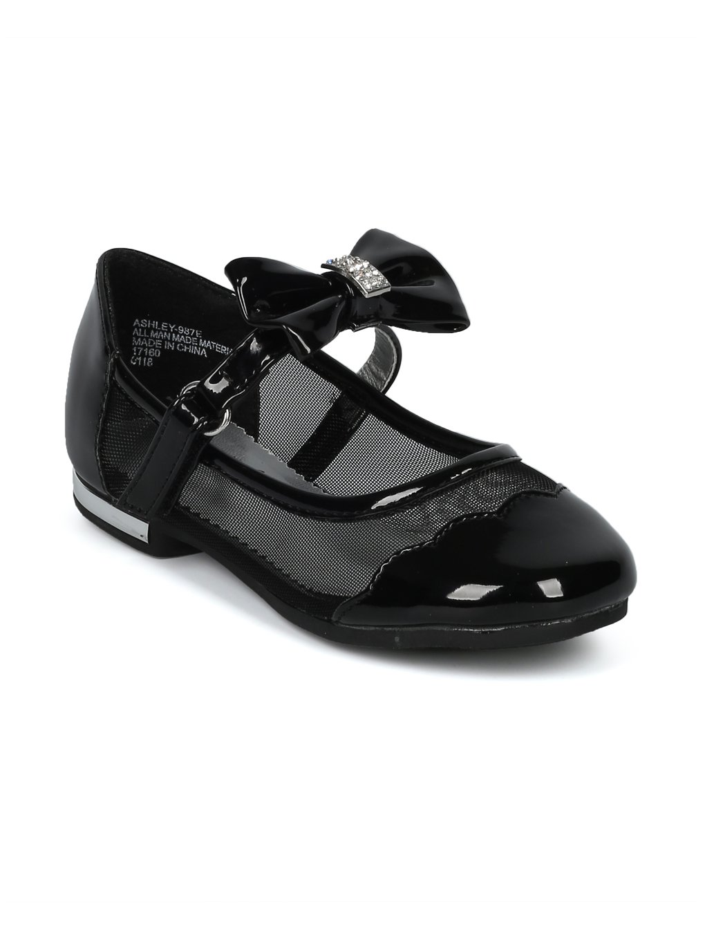 Alrisco Girls Mesh Panel Bow Tie Mary Jane Ballet Flat HH12 - Black Patent (Size: Toddler 6)