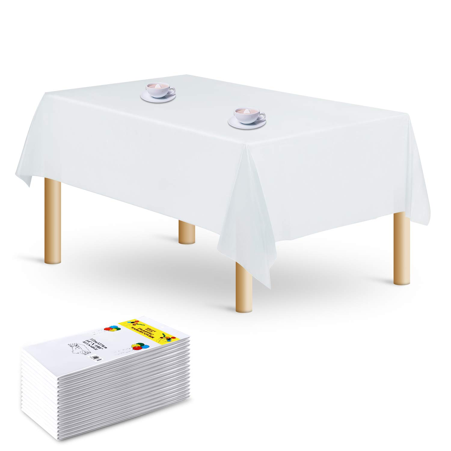 Rectangle Plastic Tablecloth - 16 Packs Premium Disposable Table Cloths Table Covers 54'' x 108'' for Wedding or Parties 6 to 8 Foot Tables (White) by TRSNLE