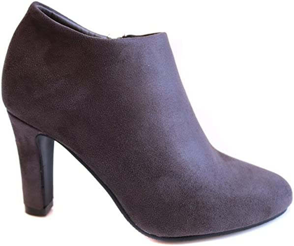 No Name Bottines Low Boots Femme à Talon Grises Simili Daim