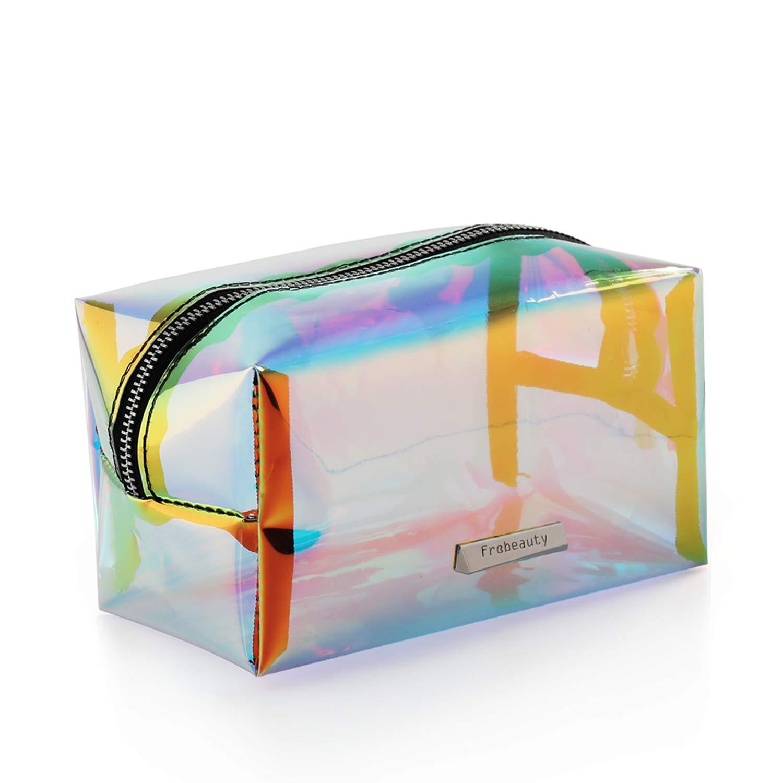 Holographic Makeup Bag Iridescent Cosmetic Bag Hologram Clutch Large Toiletries Pouch Holographic Handy Makeup Pouch Wristlets Organizer Women Evening Bag …