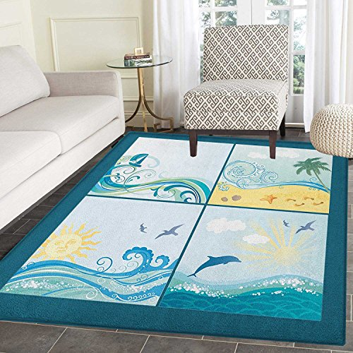 Beach Print Area rug Maritime Themed Frames with Waves Sun Trees Dolphins Birds Exotic Sea Pattern Indoor/Outdoor Area Rug 4'x5' Blue Beige ()