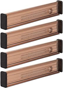 """mDesign Adjustable, Expandable Drawer Organizer/Divider - Foam Ends, Strong Secure Hold, Locks in Place - for Bedroom, Bathroom, Closet, Office, Kitchen Storage - 2.5"""" High, 4 Pack - Sand Brown"""