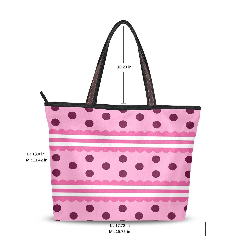 WHBAG Lightweight Handbag For Women,Pink Girls Like Polk Dot,Shoulder Tote Bag