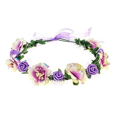 DDazzling Flower Girl Flower Crown Floral Hair Wreath Bohemian Flower Headband Boho (Purple): Clothing [5Bkhe0202248]