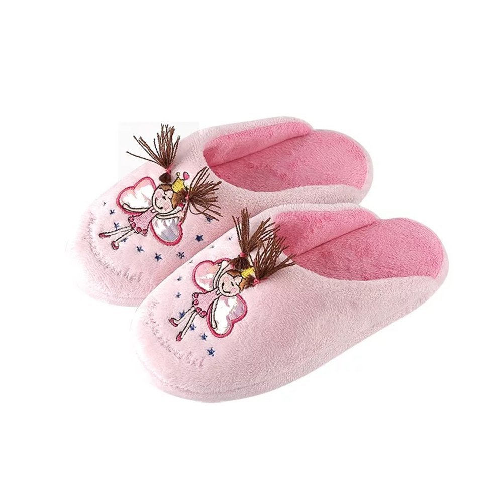 Yiwant Girl's Slippers Comfort Cotton Knitted Washable Flat Closed Toe Indoor Shoes with Non-Slip Sole Slipper-1001-27-28