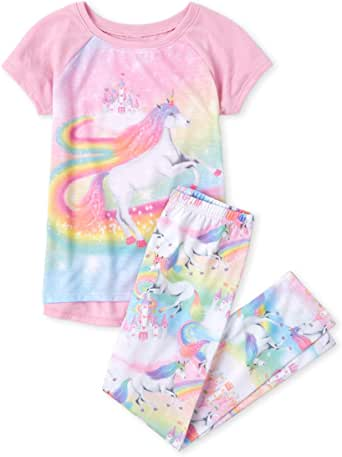 The Children's Place Graphic - Conjunto de Pijama de Manga Corta Juego de Pijama para Niñas