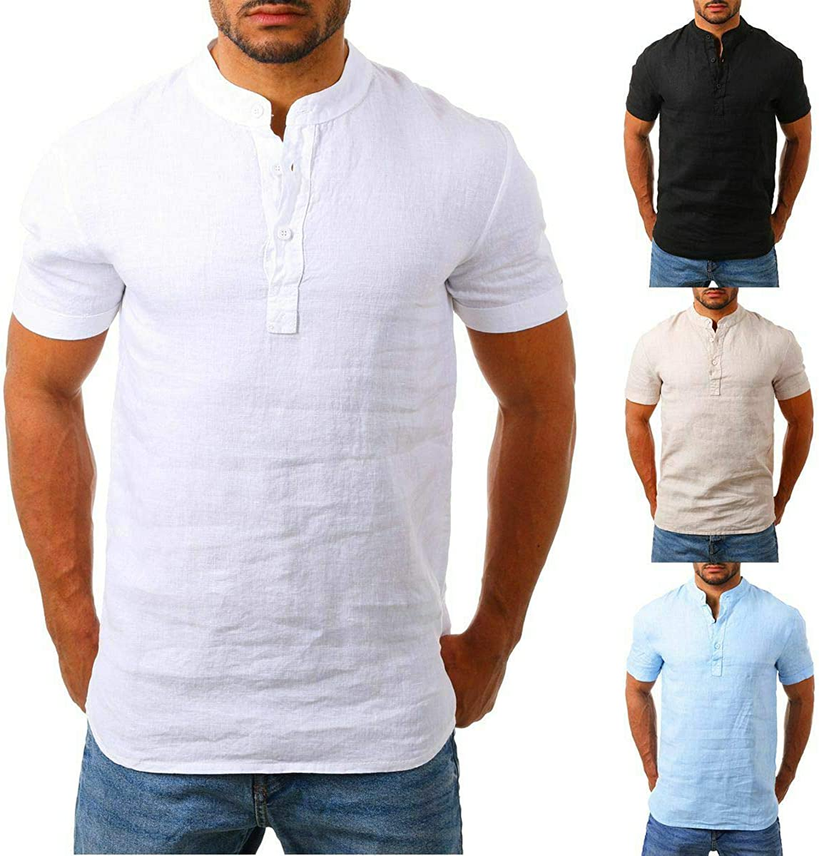 Mens Long Sleeve Linen Cotton Shirts Solid Color V Neck HenleyTees Button Standard-Fit Shirts with Pocket