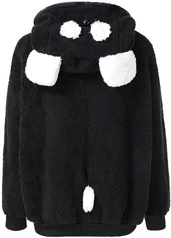 Black,XL HGWXX7 Womens Winter Warm Solid Zip-up Velvet Thicker Coat Outwear Sweatshirt Hoodie Jacket