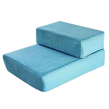 Escalera Escaleras Plegables para Mascotas, escaleras portátiles, escaleras para Perros para Cama Grande y sofá, extraíbles y Lavables (Color : Azul, ...