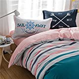 TheFit Paisley Textile Bedding for Adult U875 Pastel Sail Away Duvet Cover Set 100% Cotton, Queen Set, 4 Pieces