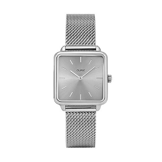 CLUSE LA TÉTRAGONE Mesh Full Silver CL60012 Women's Watch 29mm Square Dial Stainless Steel Strap Minimalistic Design Casual Dress Japanese Quartz