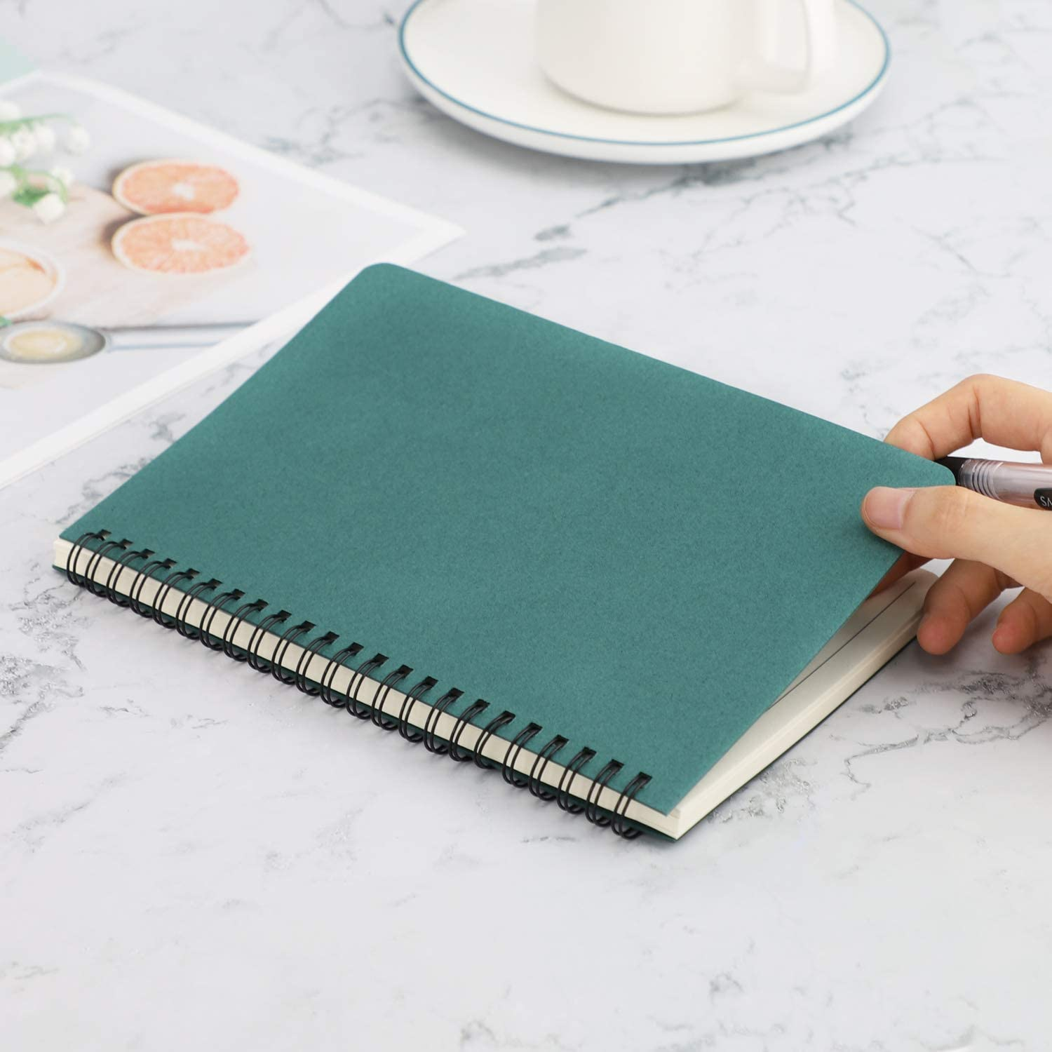 EUSOAR A5 1pack 5.7x8.2 Lined Travel Writing Notebooks Journal Students College Office Business Subject Diary Ruled Spiral Book Journal-Coffee Cover Spiral Lined Notebook Memo Notepad Sketchbook