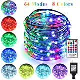 ErChen 64 Modes 7 Colors + Multicolor LED String Lights, Plug in RF Remote 49 FT 150 Upgraded RGB LEDs Color Changing Silver Copper Wire Fairy Lights with Timer for Indoor Outdoor Christmas