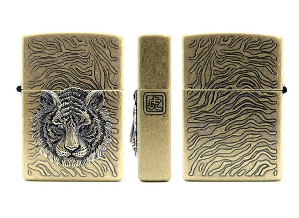 Zippo Tiger Eye Gold Lighter Made in USA /GENUINE and ORIGINAL Packing