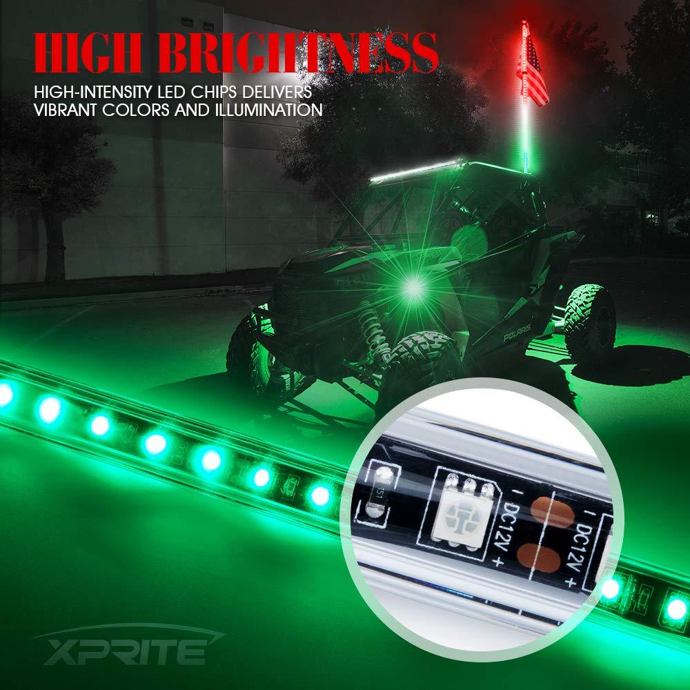 1.5M RED UTV-WHIP-G1-R Xprite 5ft LED Whip Lights Waterproof Flag Pole Safety Antenna w//Flag for Sand Dune Buggy UTV ATV RZR 4X4 Truck Offroad Jeep