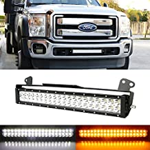 "iJDMTOY Complete 20"" 120W High Power Dual Color (White and Amber) LED Light Bar w/ Lower Bumper Grille Mounting Brackets, Wiring Harness For 2011-2016 Ford F-250 F-350 Super Duty"