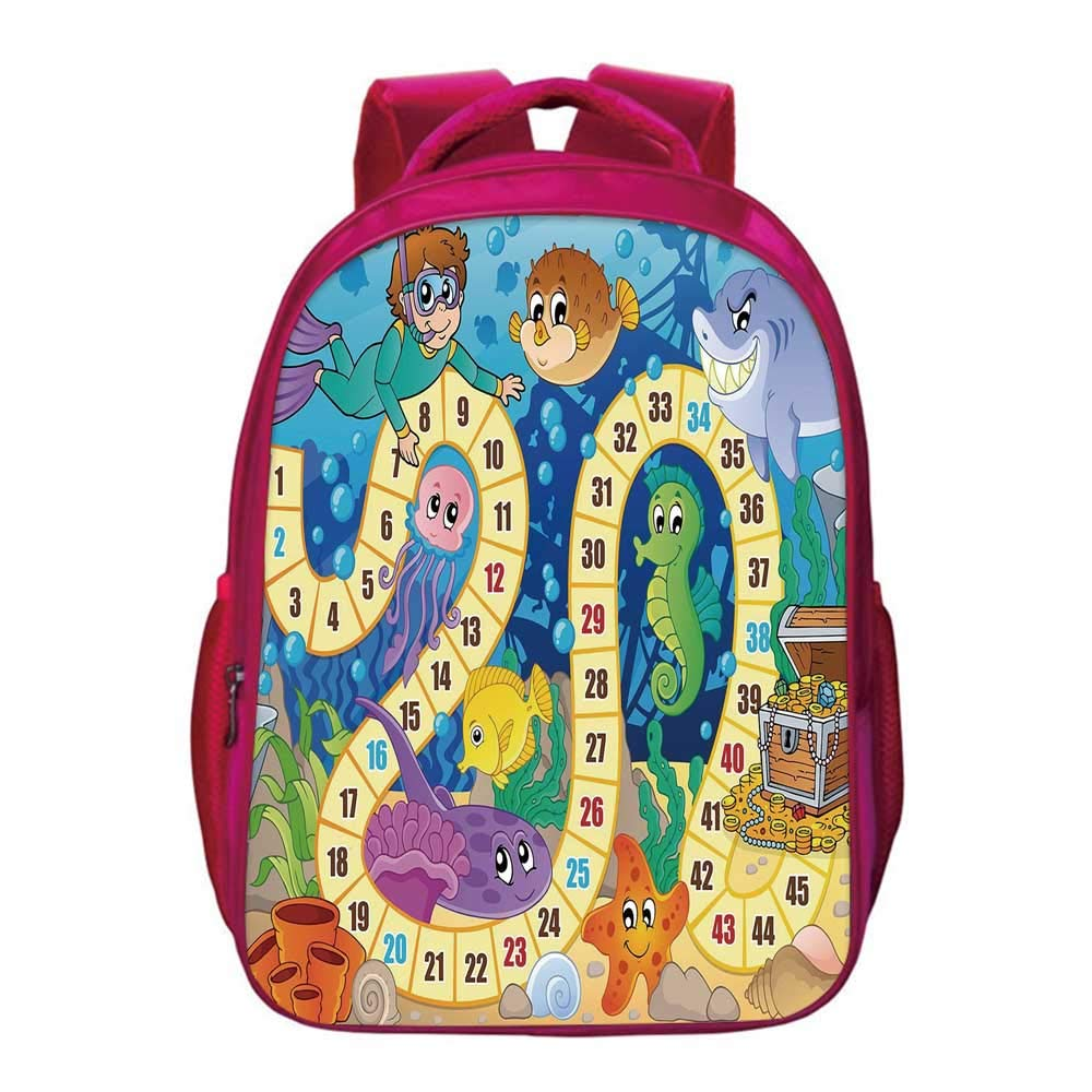 Board Game Lightweight School Bag,Underwater Wildlife Oceanic Game Image Animals Seashells Tresure Pirate Ship Art for Kids Girls,11.8''Lx6.3''Wx15.7''H by YOLIYANA