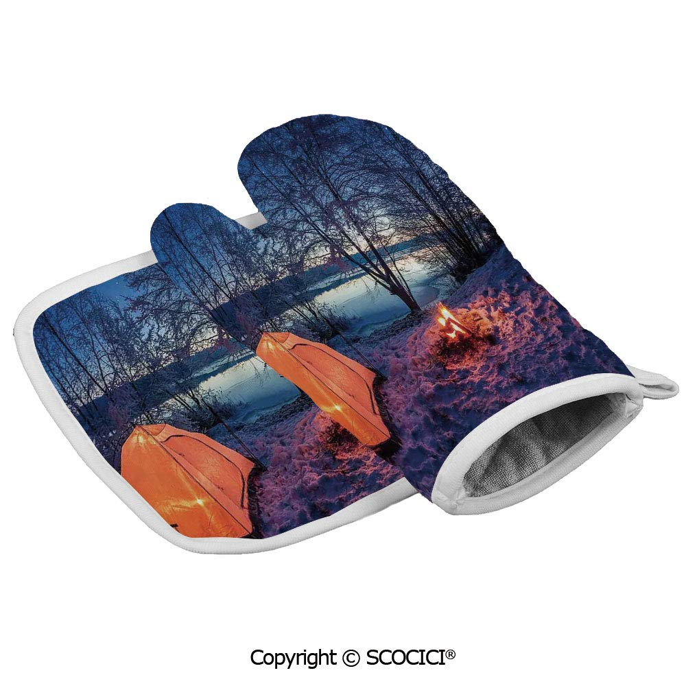 SCOCICI Oven Mitts Glove - Dark Night Camping Tent Photo in Winter on Snow Covered Lands by The Heat Resistant, Handle Hot Oven Cooking Items Safely