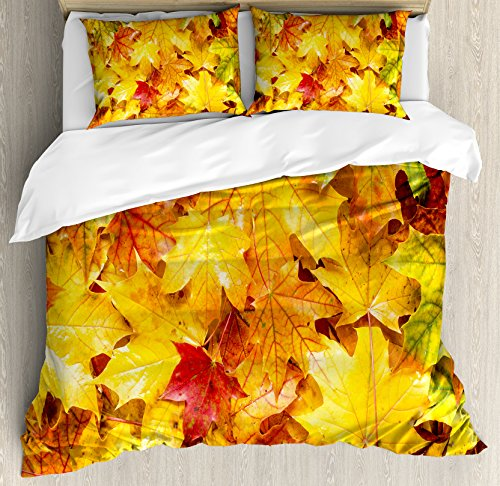 Fall Decor King Size Duvet Cover Set by Ambesonne, Wet Fall Leaves Rainy Weather Maple Tree Nature in November Change of Seasons, Decorative 3 Piece Bedding Set with 2 Pillow Shams, Multicolor