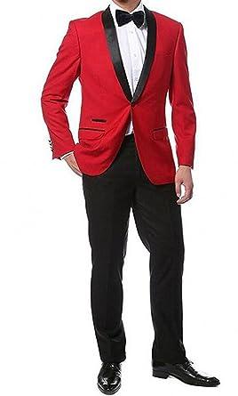 LoveeToo Red 2 Pieces Jacket Black Pants Men Suits Wedding