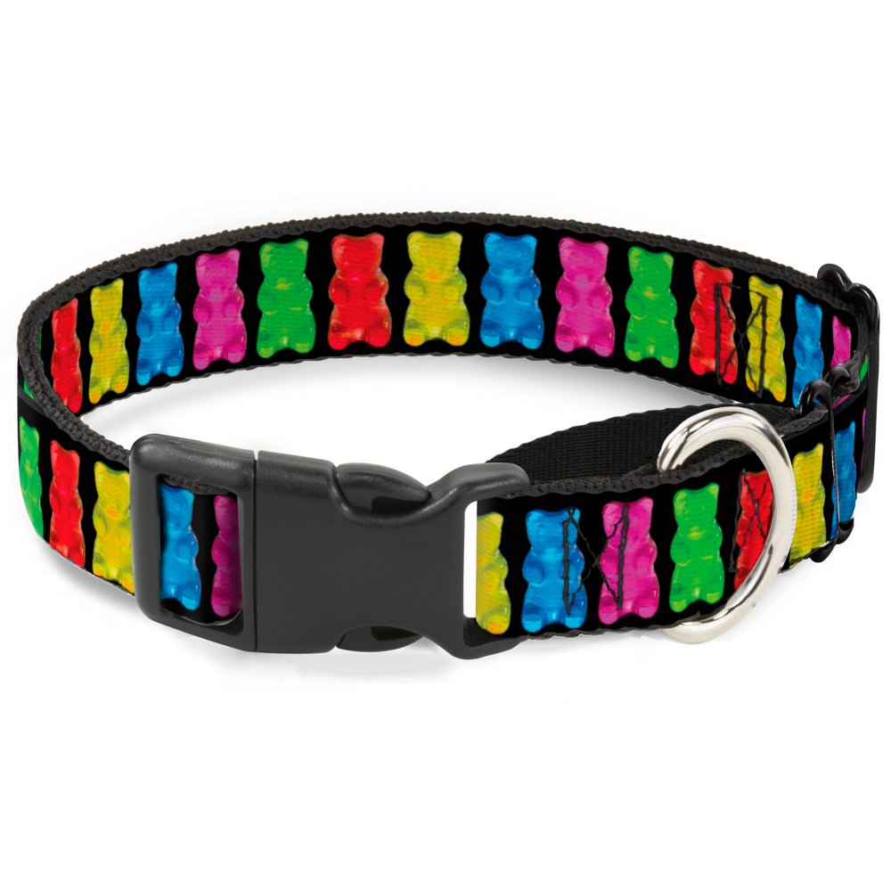 Buckle-Down Gummy Bears Black Multi color Martingale Dog Collar, 1  Wide-Fits 9-15  Neck-Small