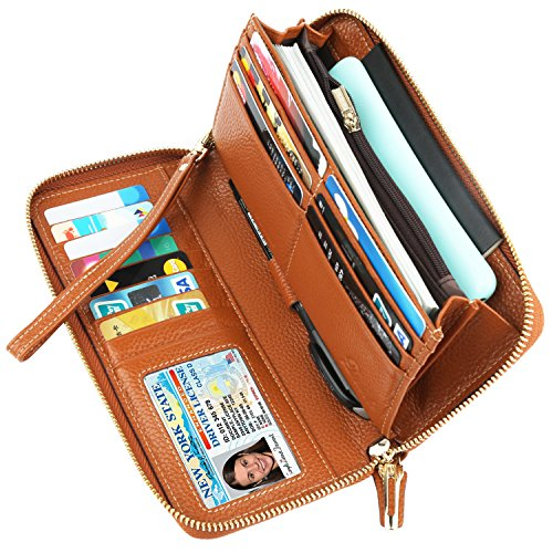 Dante RFID Blocking Wax Real Leather Zip Around Wallet Clutch Large Travel Purse for Women(Pebble Brown)
