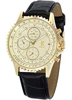 Konigswerk Mens Gold Tone Multifunction Watch Black Leather Strap Crystal Markers SQ201422G