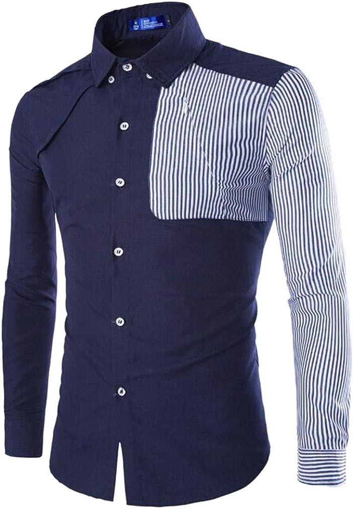 Paixpays Mens Splicing Spread Collar Long Sleeve Shirt Size M Navy Blue