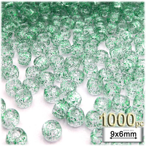 The Crafts Outlet 1000-Piece Round Plastic Transparent Pony Beads, 6 by 9mm, Green Glitter