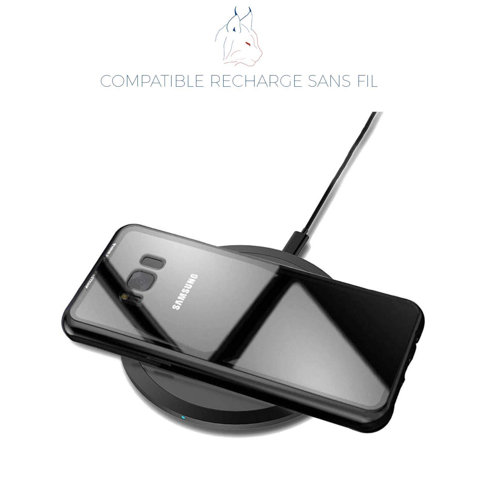LINCIVIUS  Coque Compatible avec Samsung Galaxy S8, Coque de Protection 2 en 1 Aluminium et Verre Trempe Arrière et Contour Bumper Rigide pour Samsung Galaxy S8, Noir