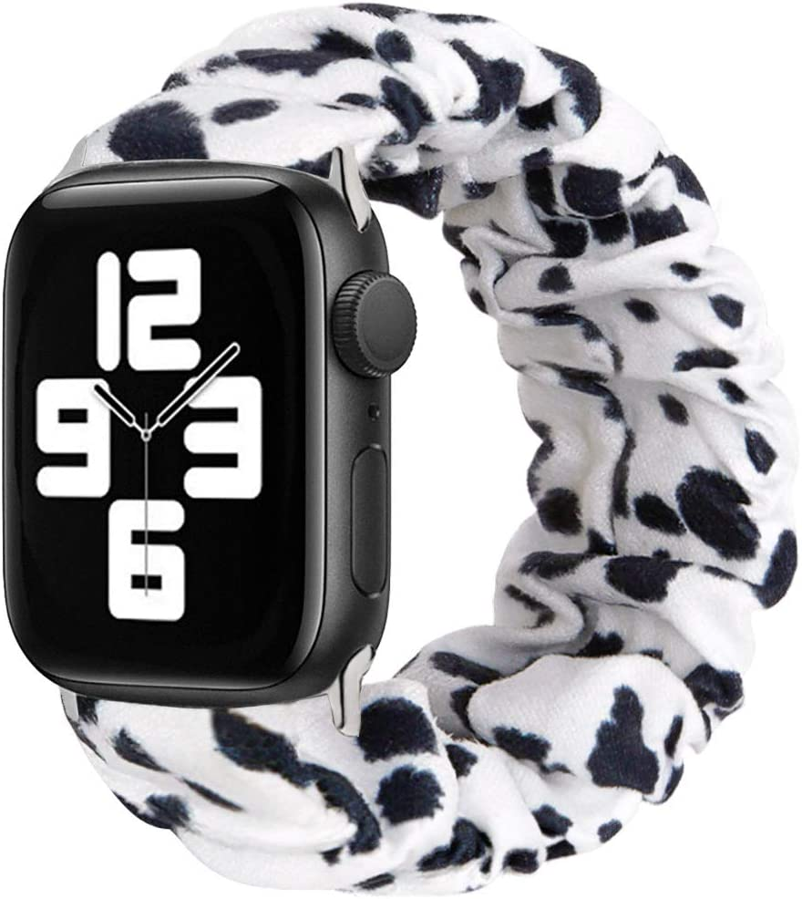 MONOBLANKS Scrunchie Elastic Watch Band Compatible for Apple Watch Band 38mm/40mm 42mm/44mm,Thick Elastic Band Replacement Compatible with for iWatch Series 4/3/2/1 (Cow, 38MM/40MM)