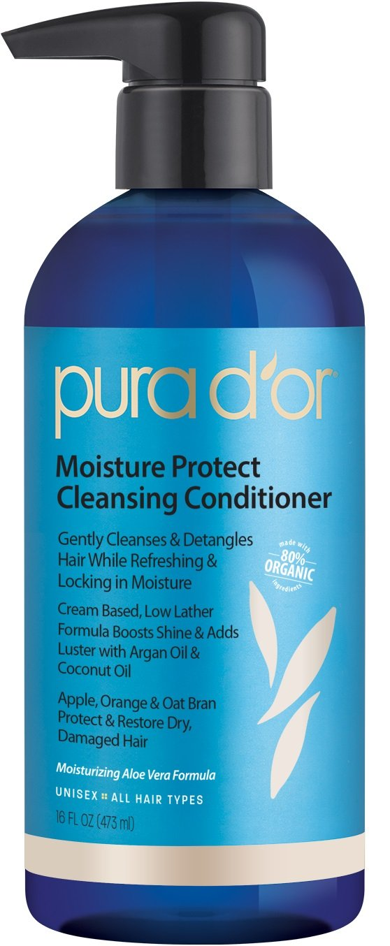 PURA D'OR Moisture Protect Cleansing Conditioner Detangling Co-Wash Treatment with Organic Argan Oil, 16 Fluid Ounce