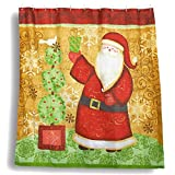 Juvale Christmas Shower Curtain - Bathroom Shower Decorations, Santa Claus Sliding Shower Curtain Design with 12 Plastic Hooks - 70 x 71 inches