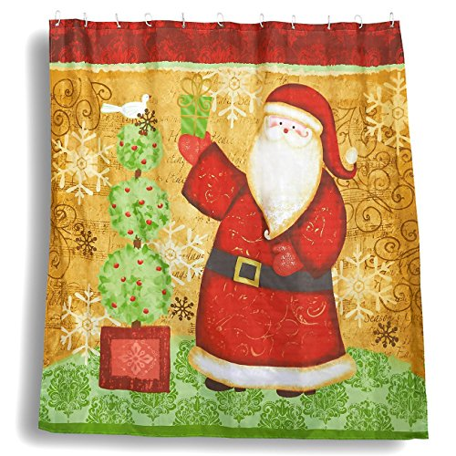 Juvale Christmas Shower Curtain - Bathroom Shower Decorations, Santa Claus Sliding Shower Curtain Design with 12 Plastic Hooks - 70 x 71 inches by Juvale
