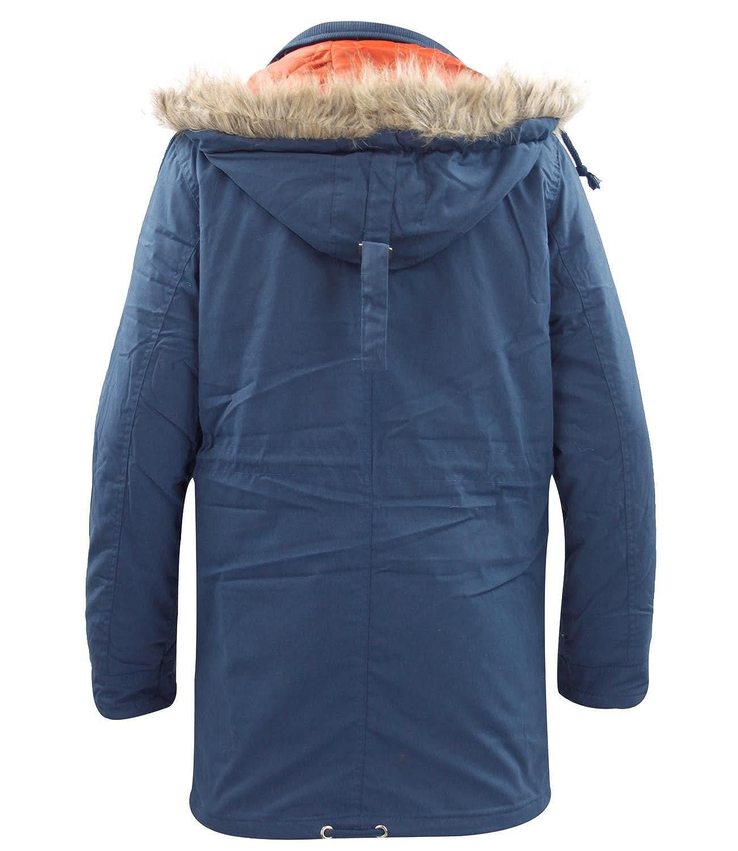 Herren TOKYO TIGERS Jacke wattiert gesteppt gefüttert Fell Kapuzen Winter  Parker Coat Gr. Medium, navy: Amazon.de: Bekleidung