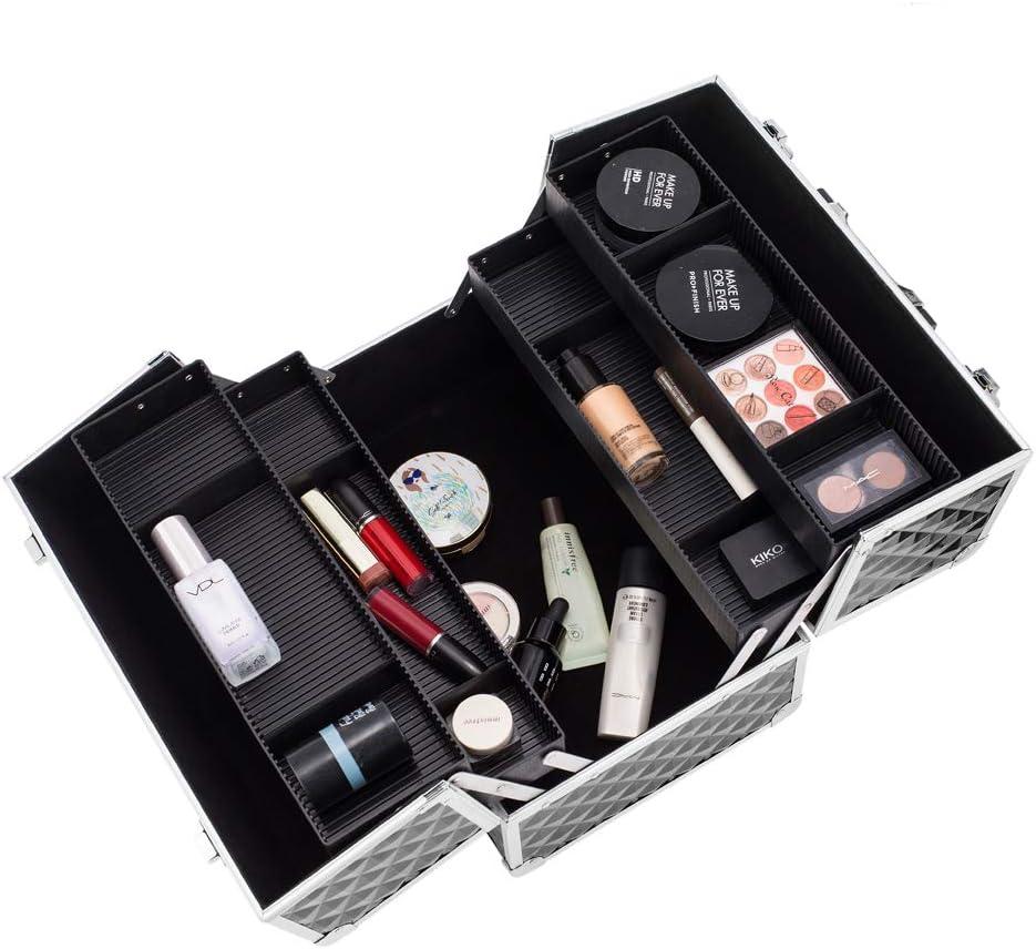 Qjoy Caja de Almacenamiento de Maquillaje Doble Abierta, 13.5 Pulgadas, Caja de Maquillaje Profesional con separadores Ajustables, 4 bandejas y 2 cerraduras, Color Negro: Amazon.es: Jardín
