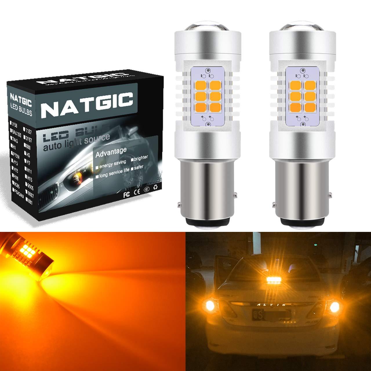 NGCAT Auto LED Bulb 2PCS 7444NA 7440 7440NA 7441 992 T20 2835 21 SMD Chipsets LED Bulbs with Lens Projector Brake Turn Signal Tail Backup Reverse Lights,Xenon White,10-16V 10.5W