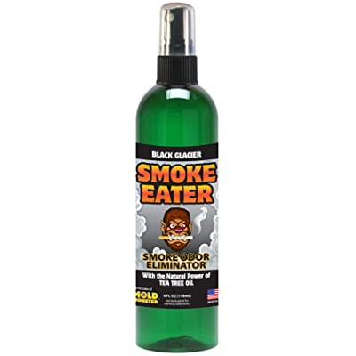 Smoke Eater - Breaks Down Smoke Odor at The Molecular Level - Eliminates Cigarette, Cigar or Pot Smoke On Clothes, in Cars, Boats, Homes, and Office - 4 oz Travel Spray Bottle (Black Glacier): Automotive