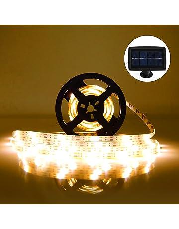 Tira de LED Lámparas Solares RGB 5M 100 LEDs Blanco Cálido Impermeable IP65 con 2 Modos