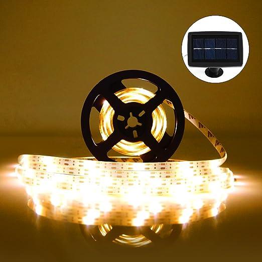 Tira de LED Lámparas Solares RGB 5M 100 LEDs Blanco Cálido Impermeable IP65 con 2 Modos de Sensor de Luz Auto ON/OFF Guirnaldas de Luces Decoración para Navidad Fiestas Bodas Jardines Festivales: