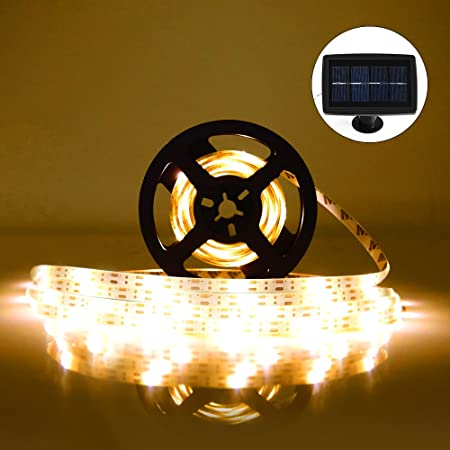 solar led strip lights 5m fkant ip65 waterproof led christmas lights with 2 light modes and